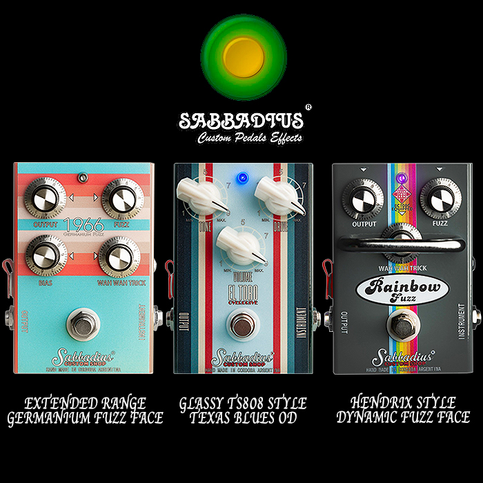 Argentina's Sabbadius Custom Pedals Effects makes some suitably impressive and stylishly Striped Overdrives and Fuzzes in addition to its highly regarded Funky-Vibe Pedals