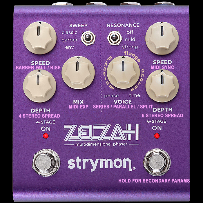 Strymon at last makes a Phaser! The Zelzah Dual Channel 4-Stage + 6-Stage Multidimensional Stereo Phaser