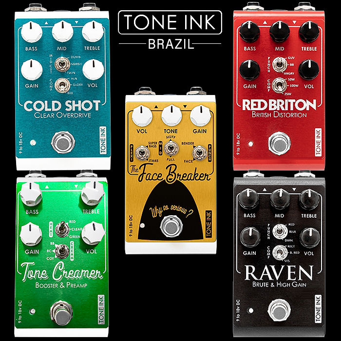 Brazil's Tone Ink Makes a Quintet of Highly Compelling Extended Range Overdrive, Fuzz and Distortion Pedals