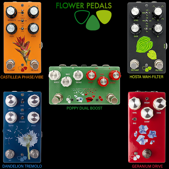 Matt Kauffman's Flower Pedals are a super appealing Compact and Bijou Range of Smart, mostly Dual-Footswitch Extended-Range Analog Modulation and Drive Pedals
