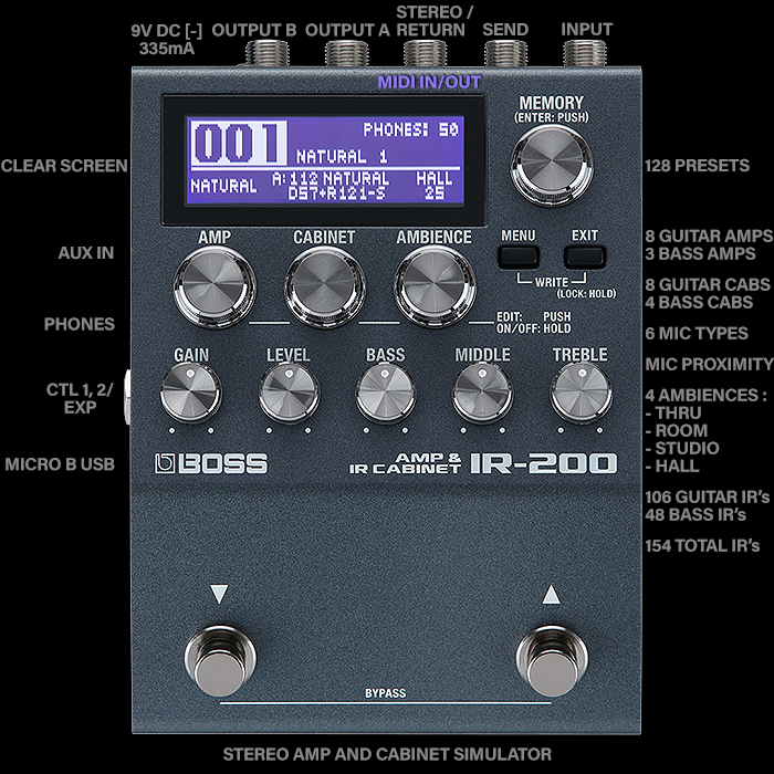 The Killer New Boss IR-200 Amp & IR Cabinet Simulator Issues a serious challenge to all other Amp and Cab Sim Makers - with one of the smartest takes on that genre yet