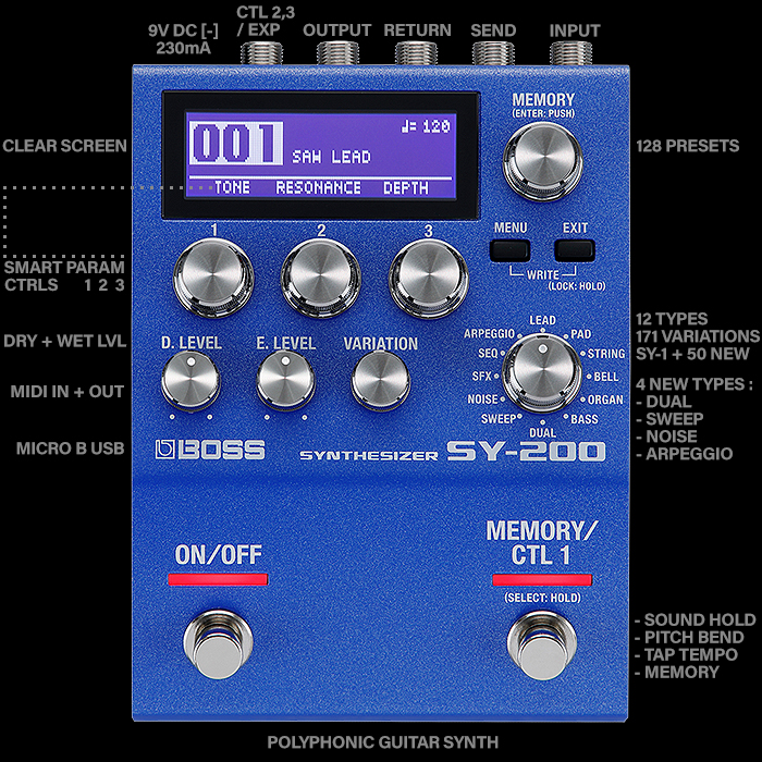 Boss Massively Raises the Bar with its Superbly Executed Brand New Improved Format SY-200 Synthesizer